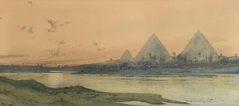 Augustus Osborne Lamplough, View of the Pyramids at Morgan O'Driscoll Art Auctions