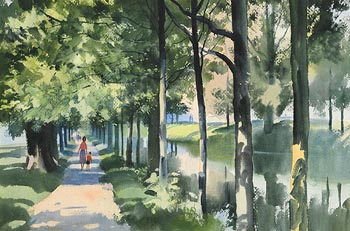 John Skelton, Figures by the Canal at Morgan O'Driscoll Art Auctions