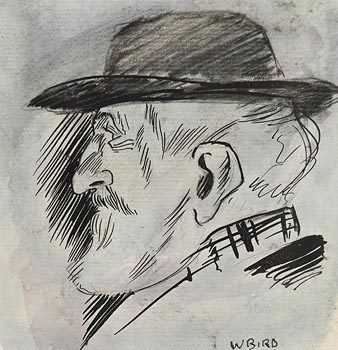 Jack Butler Yeats, Portrait of a Man, Illustrated for Punch Magazine, W Bird was his Pseudonym at Morgan O'Driscoll Art Auctions
