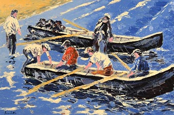 Ivan Sutton, Launching Currachs, Inisheer, Aran Islands at Morgan O'Driscoll Art Auctions