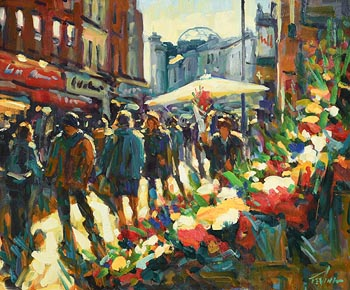 Norman Teeling, Flower Sellers, Grafton Street, Dublin at Morgan O'Driscoll Art Auctions