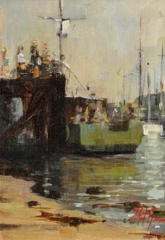Mat Grogan, Whale Watchers Embarking, West Cork at Morgan O'Driscoll Art Auctions