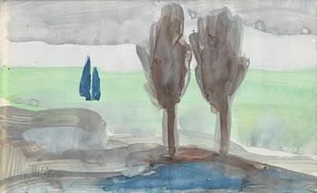 Markey Robinson, Sailboat and Two Brown Trees at Morgan O'Driscoll Art Auctions