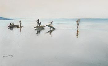 Anne Marie McInerney, Surfers, Inchydoney at Morgan O'Driscoll Art Auctions