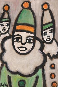 Markey Robinson, Three Clowns at Morgan O'Driscoll Art Auctions