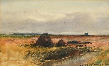 Percy French, Peat Stacks, Connemara (1900) at Morgan O'Driscoll Art Auctions