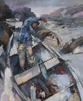 Maurice Henderson, Unloading the Catch, Beara (1991) at Morgan O'Driscoll Art Auctions