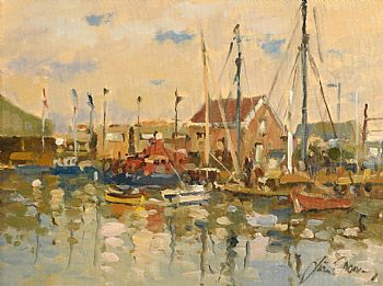 Liam Treacy, Lifeboat in the Harbour at Morgan O'Driscoll Art Auctions