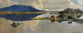 Cecil Maguire, Lough Shindillagh, Connemara (1970) at Morgan O'Driscoll Art Auctions