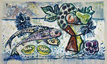 Basil Ivan Rakoczi, Still Life - Fish and Fruit on Tabletop at Morgan O'Driscoll Art Auctions