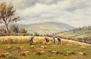 Charles J. McAuley, Harvesting in the Glens of Antrim at Morgan O'Driscoll Art Auctions