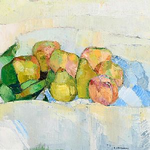 Alexey Krasnovsky, Peach and Concorde Pears (2004) at Morgan O'Driscoll Art Auctions