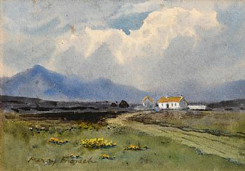 Percy French, Cottage and Peat Stacks, Connemara at Morgan O'Driscoll Art Auctions