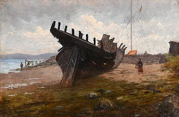 Richard Thomas Moynan, Hulk of a Wooden Boat at Clontarf (1889) at Morgan O'Driscoll Art Auctions