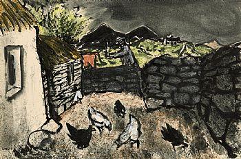 Gerard Dillon, Hens in the Street, Connemara at Morgan O'Driscoll Art Auctions