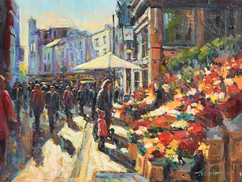Norman Teeling, Flower Sellers, Grafton Street at Morgan O'Driscoll Art Auctions