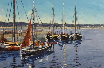 Ivan Sutton, Galway Hooker Berthed at Carraroe Pier, Co Galway at Morgan O'Driscoll Art Auctions