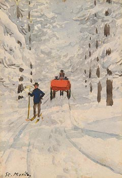 Percy French, Figures and Carriage in Snow, St. Moritz at Morgan O'Driscoll Art Auctions