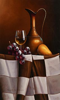 David French Le Roy, Still Life - Wine and Fruit on Tabletop (2007) at Morgan O'Driscoll Art Auctions