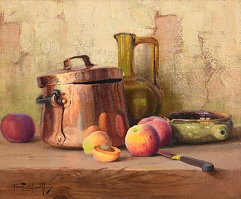 Robert Chailloux, Copper Pan, Jug and Peaches at Morgan O'Driscoll Art Auctions