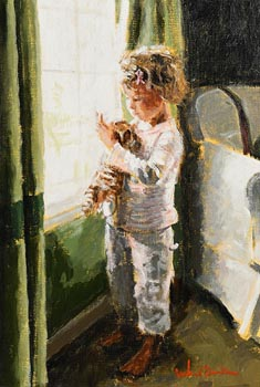 Rowland Davidson, Little Girl with Soft Toy at Morgan O'Driscoll Art Auctions