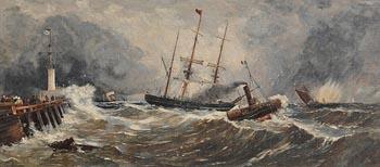 John Callow, A French Paddlewheel Tug Bringing an English Sailing Vessel to the Jetty at Boulogne (c.1860) at Morgan O'Driscoll Art Auctions