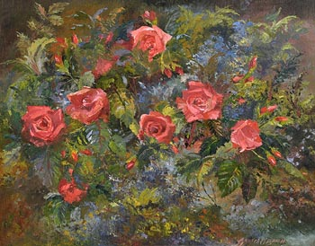 Gretta O'Brien, Red Roses at Morgan O'Driscoll Art Auctions