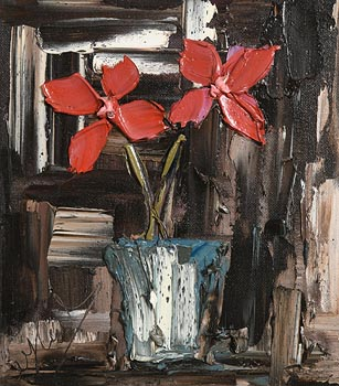 Colin Flack, Red Petals in a Blue Vase at Morgan O'Driscoll Art Auctions