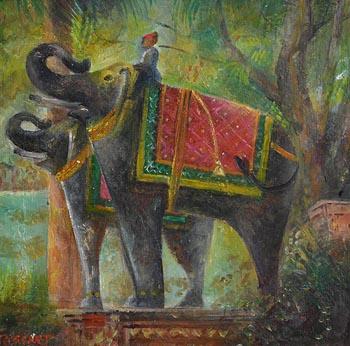 Elizabeth Taggart, Statue of Elephants at Mausoleum-Kotah Rajasthn at Morgan O'Driscoll Art Auctions