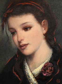 Ken Hamilton, Girl with a Ribbon in her Hair at Morgan O'Driscoll Art Auctions