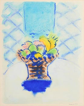 Neil Shawcross, Tabletop Fruit with Blue Chair (1979) at Morgan O'Driscoll Art Auctions