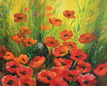 Mary O'Neill, Poppies at Morgan O'Driscoll Art Auctions