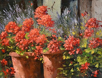 Annemarie Bourke, Geraniums in Terracotta Pot at Morgan O'Driscoll Art Auctions