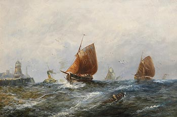19th Century Irish School, Fishing Boats and Steam Tug in Heavy Seas at Morgan O'Driscoll Art Auctions