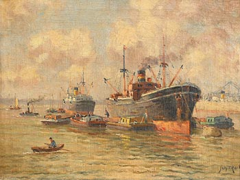 20th Century Continental School, Busy Harbour (c.1920) at Morgan O'Driscoll Art Auctions