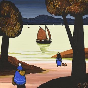 J.P. Rooney, Shawlies Watching the Boats at Morgan O'Driscoll Art Auctions