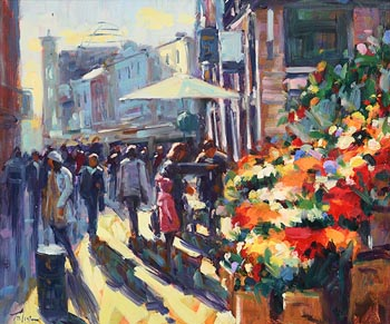 Norman Teeling, Flower Sellers Grafton Street at Morgan O'Driscoll Art Auctions