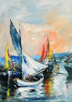 Niall Campion, Boats at Kinsale, Co. Cork at Morgan O'Driscoll Art Auctions