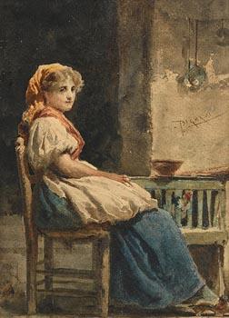 Vespasiano Bignami, Seated Female at Morgan O'Driscoll Art Auctions