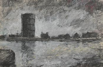Peter Pearson, The Gasometer, Grand Canal Docks at Morgan O'Driscoll Art Auctions