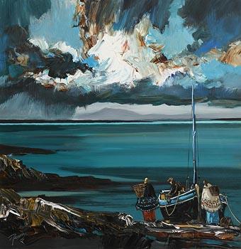J.P. Rooney, Fisher Folk on Irish Green Waters at Morgan O'Driscoll Art Auctions