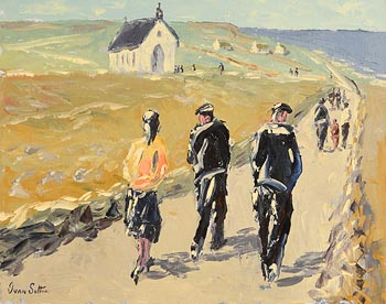 Ivan Sutton, Going to Mass, Aran Mor, Aran Islands at Morgan O'Driscoll Art Auctions