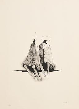 Lynn Chadwick, Two Sitting Figures (1971) at Morgan O'Driscoll Art Auctions