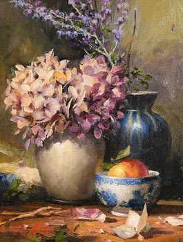 Mat Grogan, Dried Hydrangeas with Blue Vase and Apple at Morgan O'Driscoll Art Auctions
