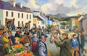 Kenneth Webb, Fair Day, Clifden at Morgan O'Driscoll Art Auctions