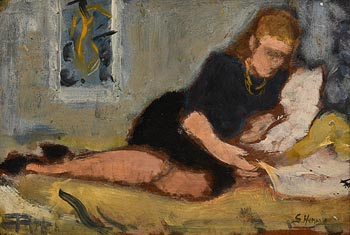 Grace Henry, Relaxing and Reading (with another painting of a girl relaxing verso) at Morgan O'Driscoll Art Auctions