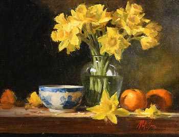 Mat Grogan, Daffodils in Glass Vase with Oranges at Morgan O'Driscoll Art Auctions