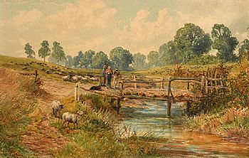 John Faulkner, Landscape with Figures, Dog and Sheep at Morgan O'Driscoll Art Auctions