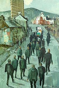 Cecil Maguire, The Dark Parade, Falls Road, Belfast (1973) at Morgan O'Driscoll Art Auctions