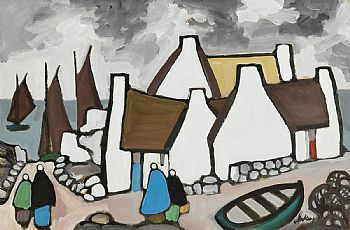Markey Robinson, West of Ireland Fishing Village at Morgan O'Driscoll Art Auctions